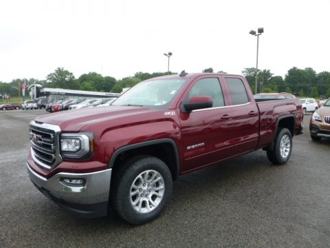 Crimson Red Tintcoat GMC Sierra 1500 SLE Double Cab 4WD.  Click to enlarge.