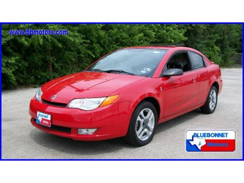 Red 2003 Saturn ION 3 Quad Coupe with Gray interior Red Saturn ION 3 Quad