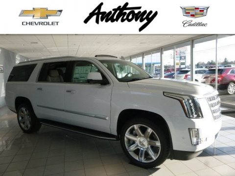 Crystal White Tricoat Cadillac Escalade ESV Premium Luxury 4WD.  Click to enlarge.