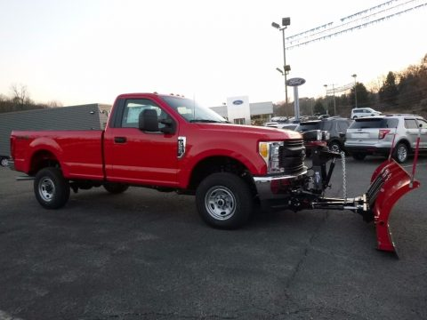 Race Red Ford F250 Super Duty XL Regular Cab 4x4 Plow Truck.  Click to enlarge.