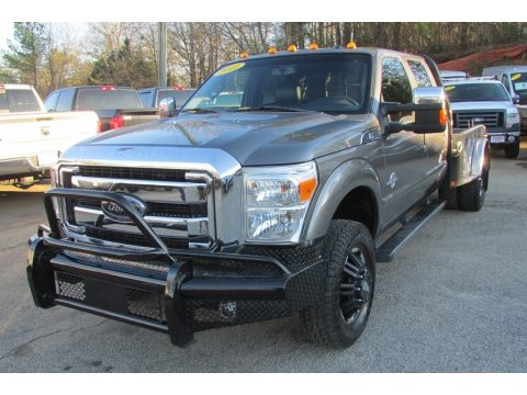 Sterling Grey Metallic Ford F350 Super Duty Lariat Crew Cab 4x4 Dually.  Click to enlarge.