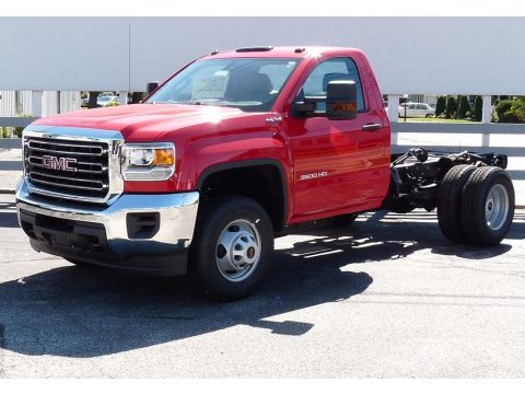 Cardinal Red GMC Sierra 3500HD Regular Cab Chassis 4x4.  Click to enlarge.