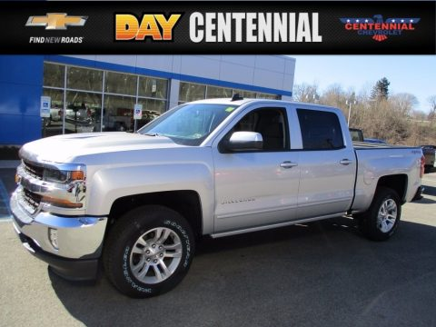 Silver Ice Metallic Chevrolet Silverado 1500 LT Crew Cab 4x4.  Click to enlarge.
