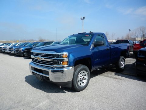 Deep Ocean Blue Metallic Chevrolet Silverado 2500HD Work Truck Regular Cab 4x4.  Click to enlarge.