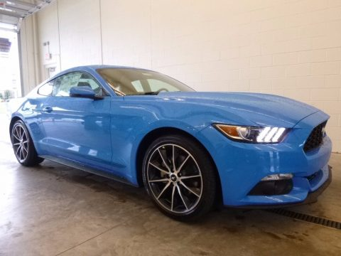 Grabber Blue Ford Mustang EcoBoost Premium Coupe.  Click to enlarge.