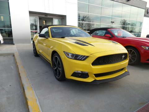 Triple Yellow Ford Mustang GT California Speical Convertible.  Click to enlarge.
