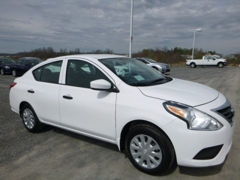 Fresh Powder White Nissan Versa S.  Click to enlarge.