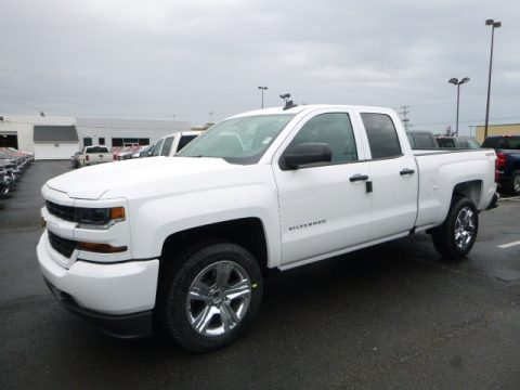 Summit White Chevrolet Silverado 1500 Custom Double Cab 4x4.  Click to enlarge.