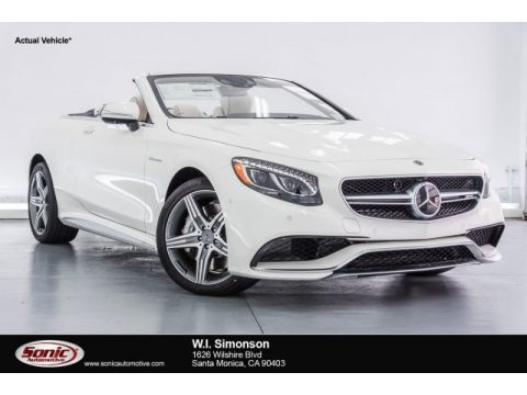 designo Diamond White Metallic Mercedes-Benz S 63 AMG 4Matic Cabriolet.  Click to enlarge.