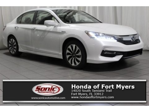 White Orchid Pearl Honda Accord Hybrid Touring Sedan.  Click to enlarge.