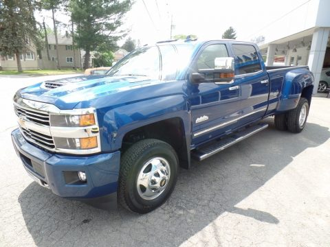 Deep Ocean Blue Metallic Chevrolet Silverado 3500HD High Country Crew Cab Dual Rear Wheel 4x4.  Click to enlarge.
