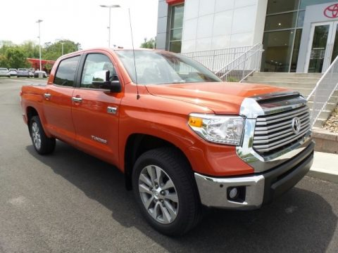 Inferno Orange Toyota Tundra Limited CrewMax 4x4.  Click to enlarge.