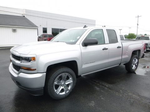Silver Ice Metallic Chevrolet Silverado 1500 Custom Double Cab 4x4.  Click to enlarge.