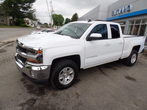 Summit White Chevrolet Silverado 1500 LT Double Cab 4x4.  Click to enlarge.