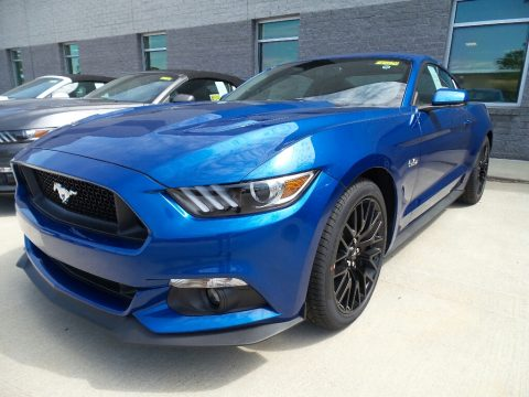 Lightning Blue Ford Mustang GT Premium Coupe.  Click to enlarge.