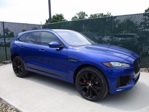 Caesium Blue Metallic Jaguar F-PACE S AWD.  Click to enlarge.