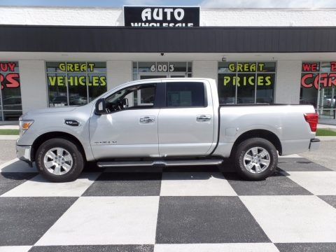 Brilliant Silver Nissan Titan SV Crew Cab 4x4.  Click to enlarge.