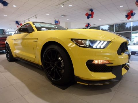 Triple Yellow Ford Mustang Shelby GT350 Coupe.  Click to enlarge.
