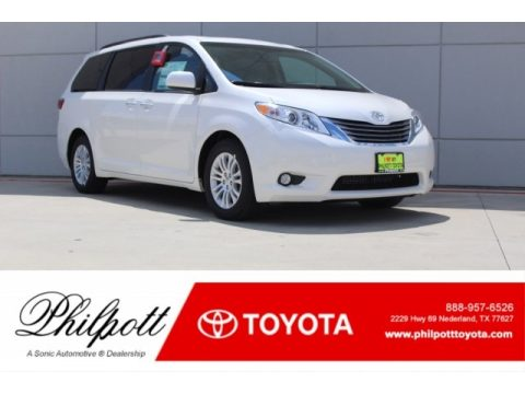 Blizzard White Pearl Toyota Sienna XLE.  Click to enlarge.