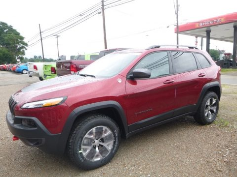Deep Cherry Red Crystal Pearl Jeep Cherokee Trailhawk 4x4.  Click to enlarge.