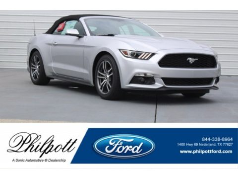 Ingot Silver Ford Mustang EcoBoost Premium Convertible.  Click to enlarge.