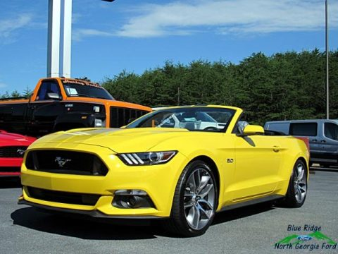 Triple Yellow Ford Mustang GT Premium Convertible.  Click to enlarge.
