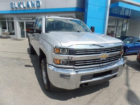 Silver Ice Metallic Chevrolet Silverado 2500HD Work Truck Double Cab 4x4.  Click to enlarge.