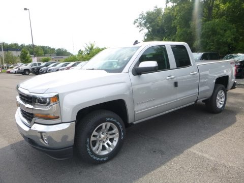 Silver Ice Metallic Chevrolet Silverado 1500 LT Double Cab 4x4.  Click to enlarge.