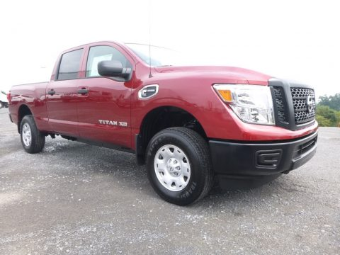 Cayenne Red Nissan TITAN XD S Crew Cab 4x4.  Click to enlarge.