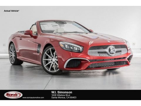 designo Cardinal Red Metallic Mercedes-Benz SL 450 Roadster.  Click to enlarge.