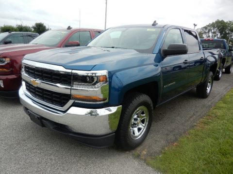 Deep Ocean Blue Metallic Chevrolet Silverado 1500 WT Crew Cab 4x4.  Click to enlarge.