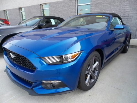 Lightning Blue Ford Mustang V6 Convertible.  Click to enlarge.