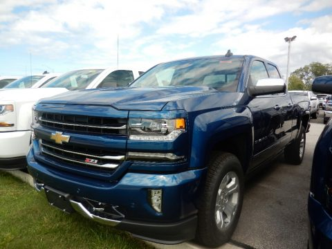 Deep Ocean Blue Metallic Chevrolet Silverado 1500 LTZ Double Cab 4x4.  Click to enlarge.