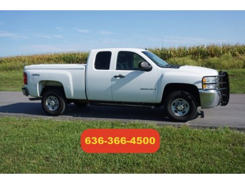 Summit White Chevrolet Silverado 2500HD Work Truck Extended Cab 4x4.  Click to enlarge.