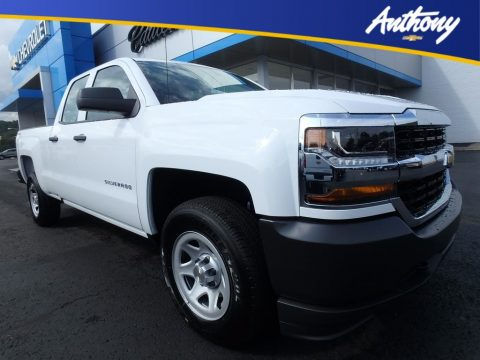Summit White Chevrolet Silverado 1500 WT Double Cab 4x4.  Click to enlarge.