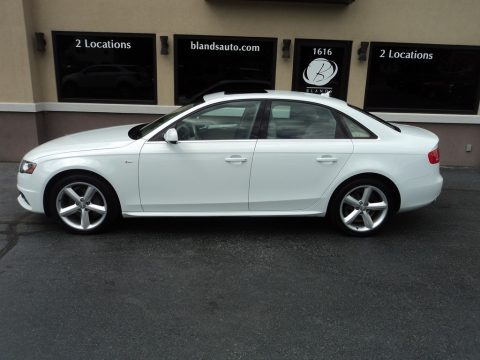 Glacier White Metallic Audi A4 2.0T quattro Sedan.  Click to enlarge.