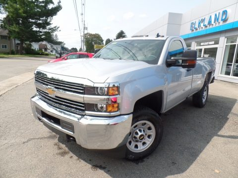 Silver Ice Metallic Chevrolet Silverado 2500HD Work Truck Regular Cab 4x4.  Click to enlarge.