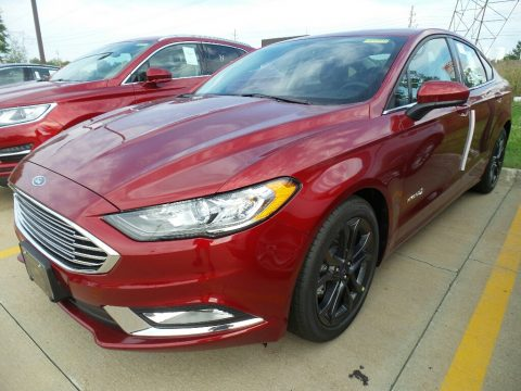 Ruby Red Ford Fusion Hybrid SE.  Click to enlarge.