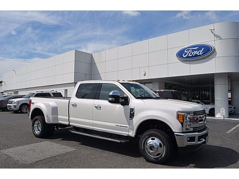 White Platinum Ford F350 Super Duty Lariat Crew Cab 4x4.  Click to enlarge.