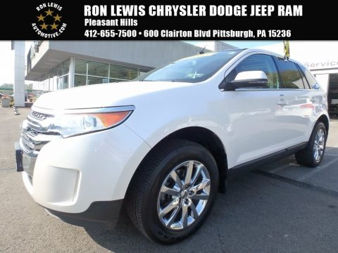 White Platinum Metallic Tri-Coat Ford Edge Limited AWD.  Click to enlarge.