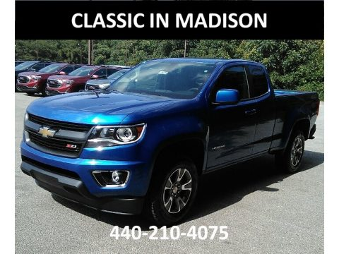 Kinetic Blue Metallic Chevrolet Colorado Z71 Extended Cab 4x4.  Click to enlarge.
