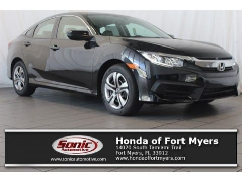 Crystal Black Pearl Honda Civic LX Sedan.  Click to enlarge.