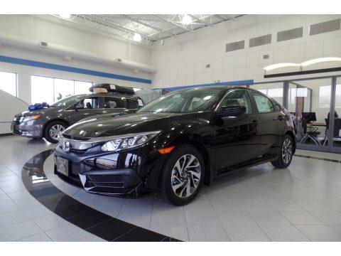 Crystal Black Pearl Honda Civic EX Sedan.  Click to enlarge.
