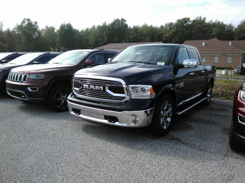 Brilliant Black Crystal Pearl Ram 1500 Laramie Longhorn Crew Cab 4x4.  Click to enlarge.