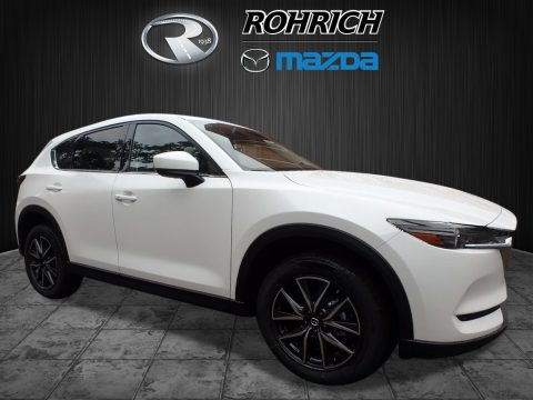 Crystal White Pearl Mazda CX-5 Grand Touring AWD.  Click to enlarge.