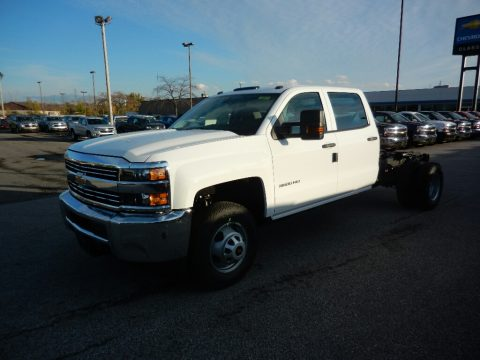 Summit White Chevrolet Silverado 3500HD Work Truck Crew Cab 4x4 Chassis.  Click to enlarge.