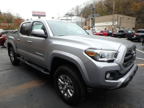 Silver Sky Metallic Toyota Tacoma SR5 Double Cab 4x4.  Click to enlarge.