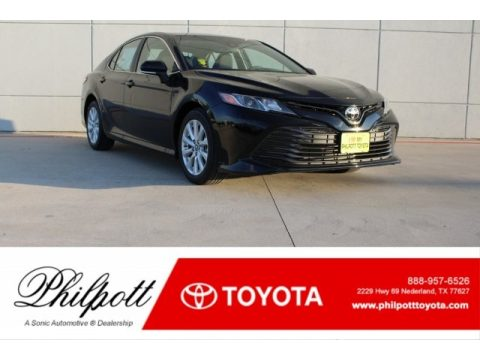 Midnight Black Metallic Toyota Camry LE.  Click to enlarge.