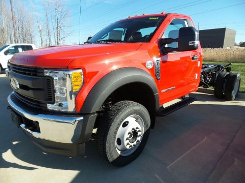 Race Red Ford F550 Super Duty XL Regular Cab 4x4 Chassis.  Click to enlarge.