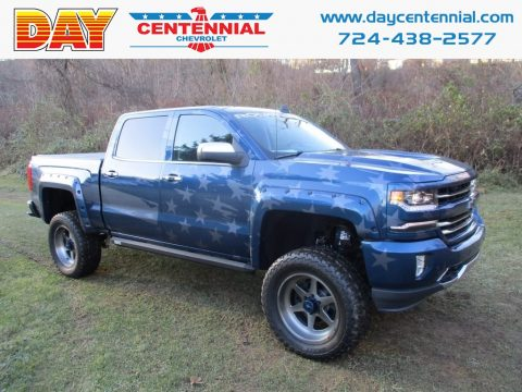 Deep Ocean Blue Metallic Chevrolet Silverado 1500 LTZ Crew Cab 4x4.  Click to enlarge.